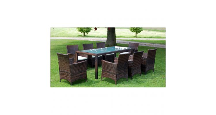 Set mobilier gradina din poliratan, masa si 8 scaune, Maro