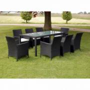 Set mobilier gradina din poliratan, masa si 8 scaune, Negru