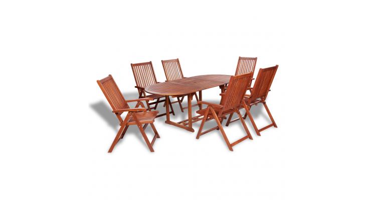 Set mobilier gradina lemn masa extensibila si 6 scaune reglabile