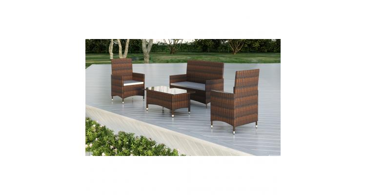 Set mobilier gradina poliratan 1 masa 3 scaune maro