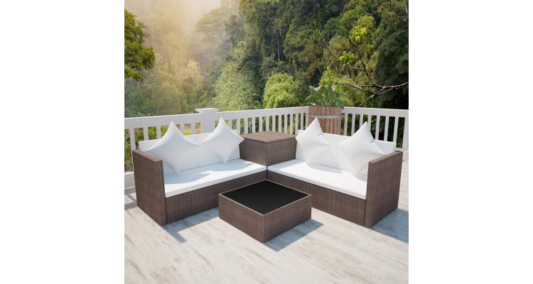 Set mobilier gradina poliratan cu cufar depozitare Maro
