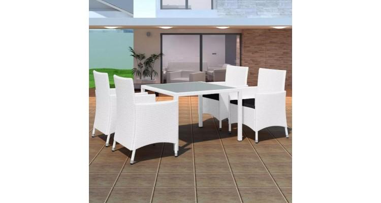 Set mobilier de exterior 9 piese, poliratan, alb crem imagine 2021 kivi.ro