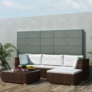 Set mobilier pentru gradina din poliratan, 14 piese, Maro