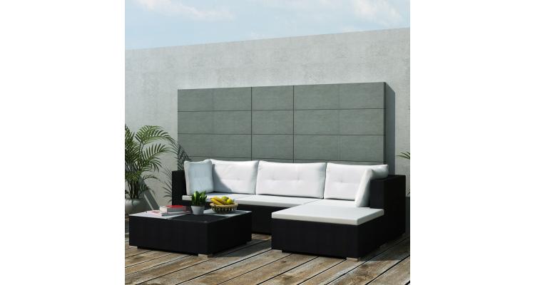 Set mobilier pentru gradina din poliratan, 14 piese, Negru imagine 2021 kivi.ro