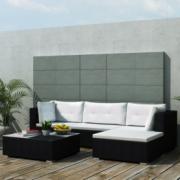 Set mobilier pentru gradina din poliratan, 14 piese, Negru