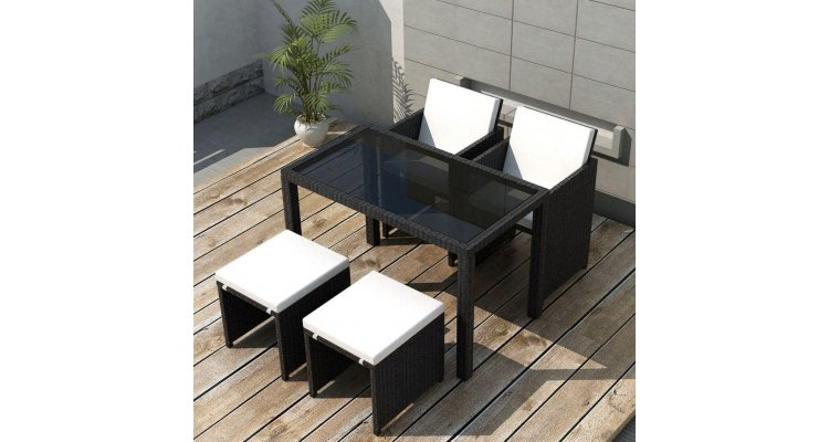 Set mobilier de exterior 11 piese, poliratan, negru