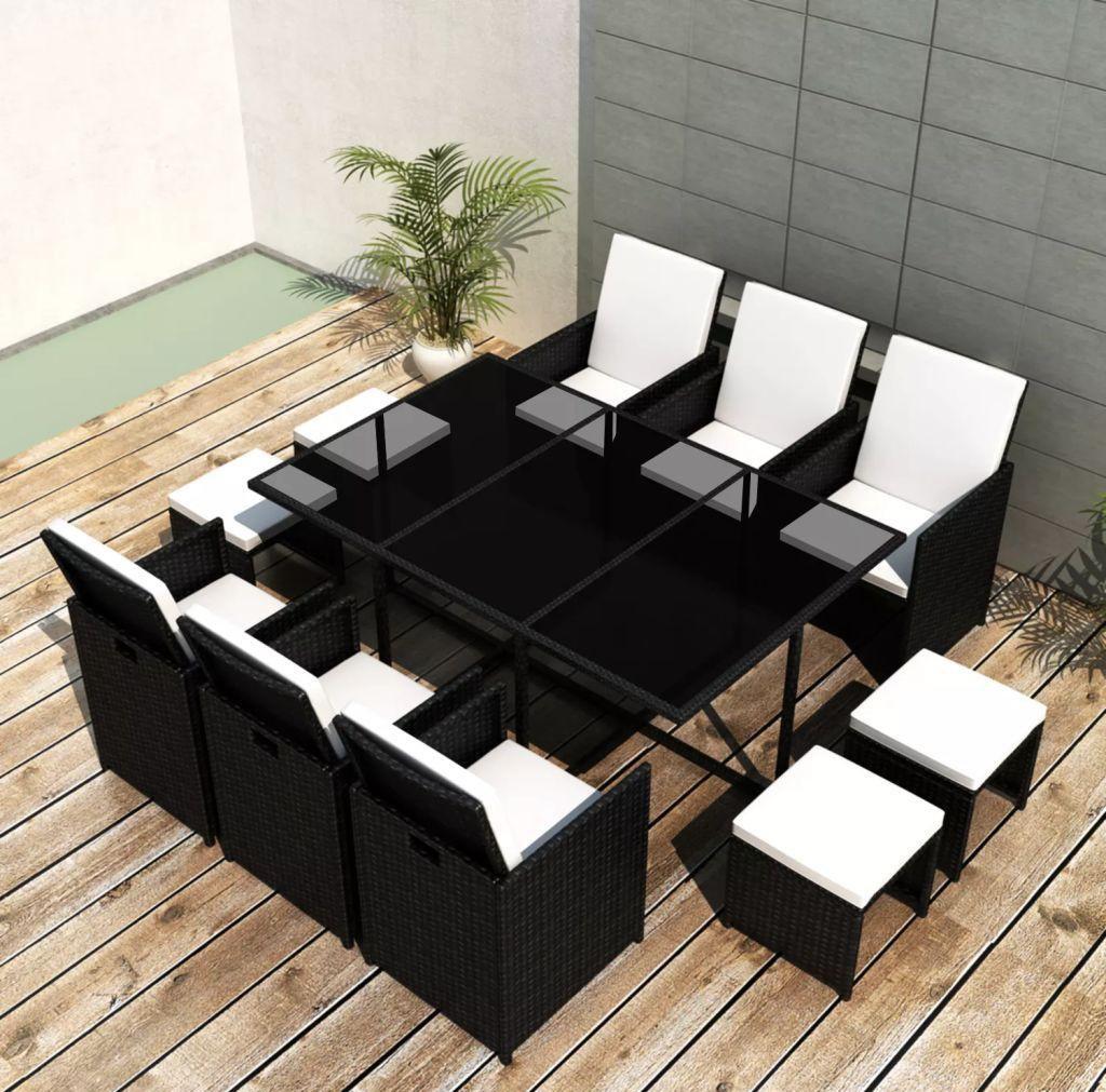 Set mobilier de exterior 27 piese, poliratan, negru imagine 2021 kivi.ro