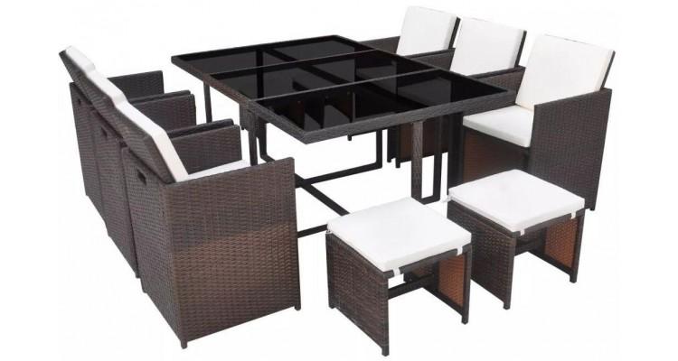 Set mobilier de exterior 27 piese, poliratan, maro