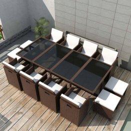 Set mobilier de exterior 33 piese, poliratan, maro