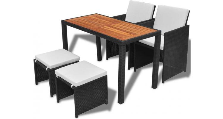 Set mobilier de exterior 11 piese, poliratan și acacia, negru imagine 2021 kivi.ro