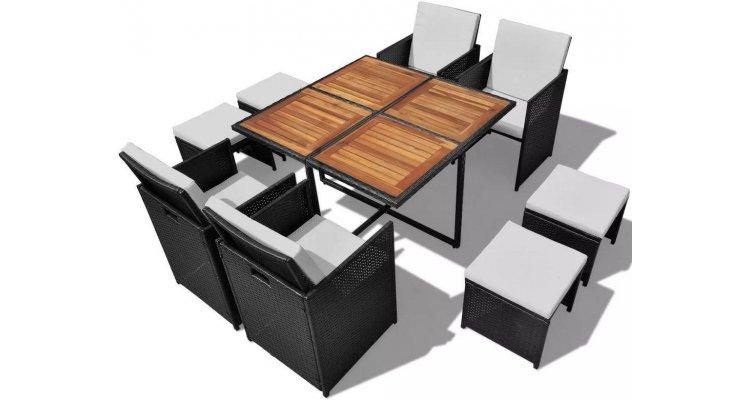 Set mobilier de exterior 21 piese, poliratan și acacia, negru imagine 2021 kivi.ro