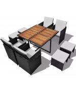 Set mobilier de exterior 21 piese, poliratan și acacia, negru