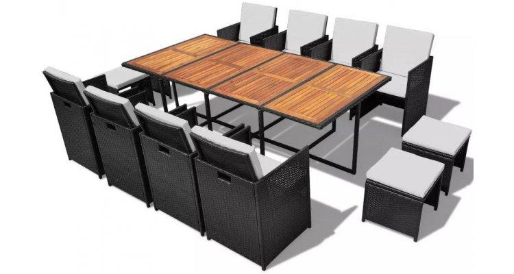Set mobilier de exterior 33 piese, poliratan și acacia, negru imagine 2021 kivi.ro