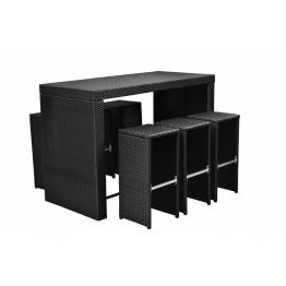 Set mobilier poliratan pentru gradina bar Negru