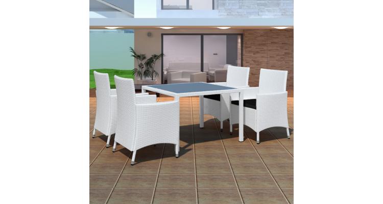 Set poliratan masa cu 4 scaune