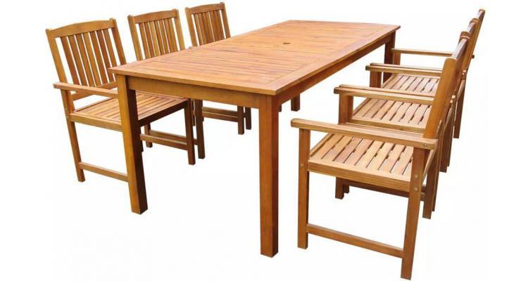 set mobilier exterior lemn, 7 piese, maro poza kivi.ro
