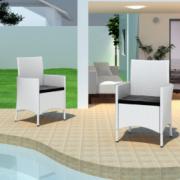 Set scaune de gradina din poliratan, alb, 2 buc.