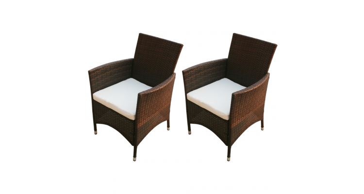 Set scaune de gradina din poliratan, maro, 2 buc.