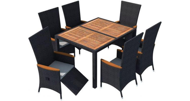 Set mobilier exterior XXL-13 piese, poliratan si acacia, negru poza kivi.ro