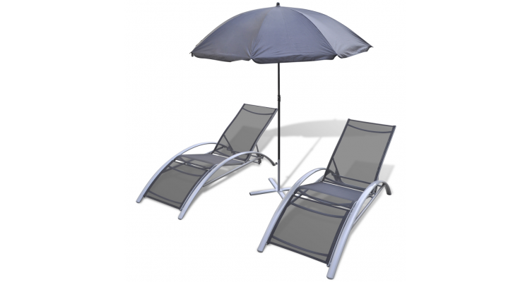 Set sezlonguri de plaja cu umbrela din aluminiu