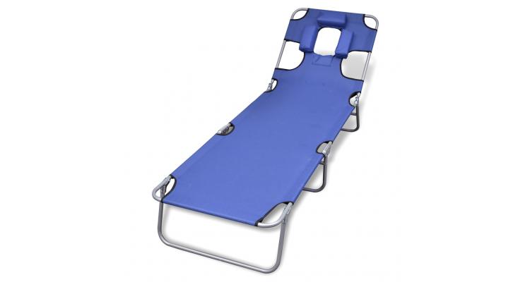 sezlong albastru pliabil pentru plaja, cu tetiera si spatar reglabil