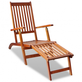 sezlong din lemn de acacia pentru exterior cu suport pentru picioare