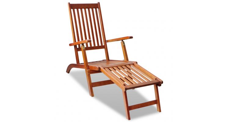 sezlong din lemn de acacia pentru exterior cu suport pentru picioare poza kivi.ro