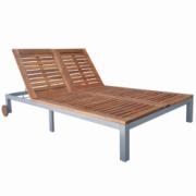 sezlong din lemn de salcam, 207 x 130 x (31-88) cm