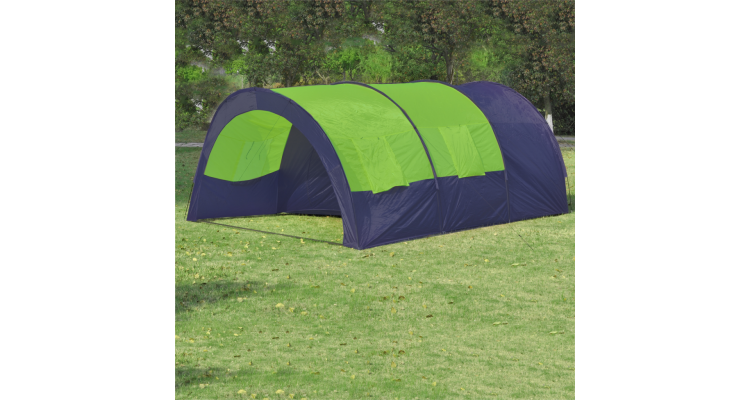 Cort pentru camping din poliester, 6 persoane, Albastru/ Verde