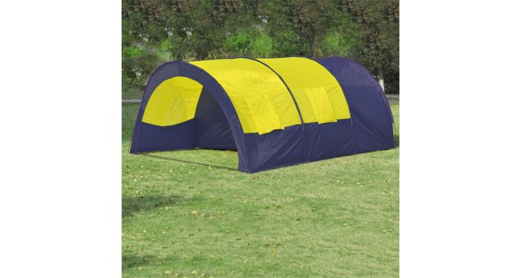 Cort Camping Poliester Albastru Galben Poza