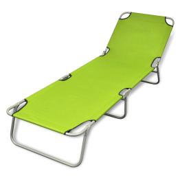 sezlong verde mar pliabil pentru plaja, cu spatar reglabil