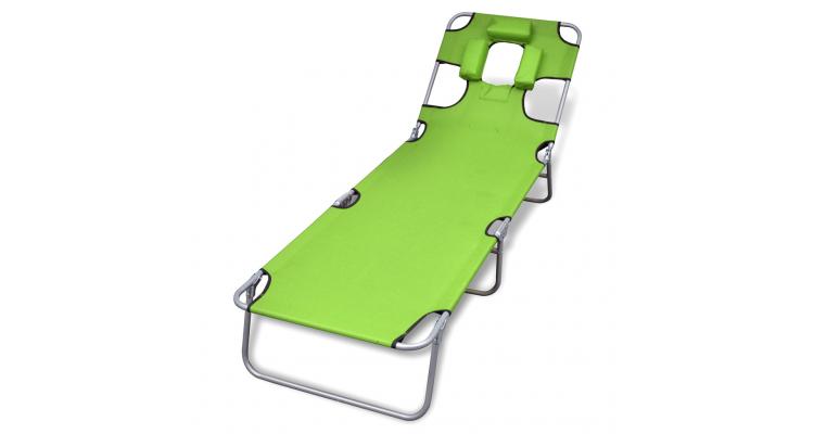 sezlong verde mar pliabil pentru plaja, cu tetiera si spatar reglabil imagine 2021 kivi.ro
