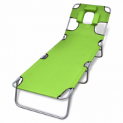 sezlong verde mar pliabil pentru plaja, cu tetiera si spatar reglabil