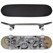 Skateboard oval din artar in 9 straturi, imprimeu dragon