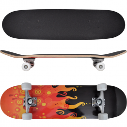 Skateboard oval din artar in 9 straturi, imprimeu foc