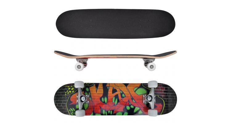 Skateboard oval din artar in 9 straturi, imprimeu graffiti