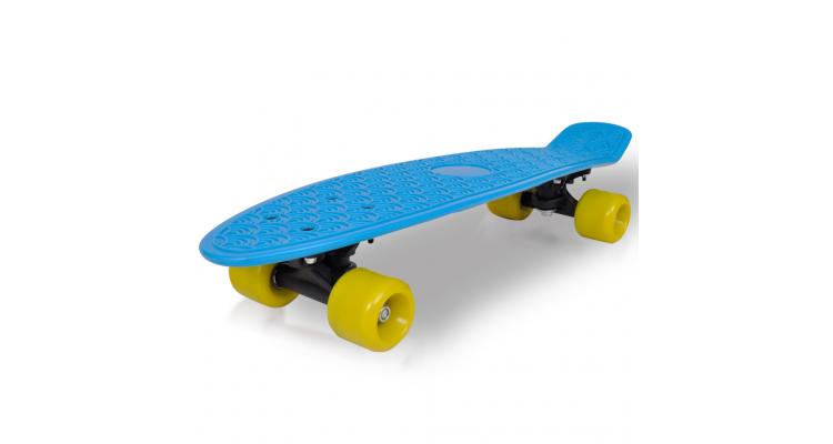 Skateboard retro cu placa albastra si roti galbene