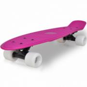 Skateboard retro cu placa lila si roti albe