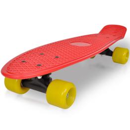 Skateboard retro cu placa rosie si roti galbene
