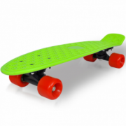 Skateboard retro cu placa verde si roti rosii