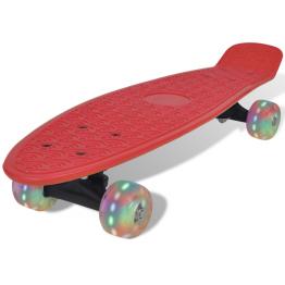 Skateboard retro cu roti cu LED-uri Rosu