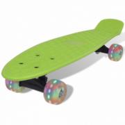 Skateboard retro cu roti cu LED-uri Verde