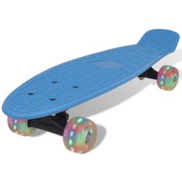 Skateboard Retro cu Roti LED Albastru