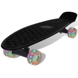 Skateboard Retro cu Roti LED Negru