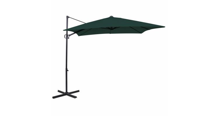 Umbrela de soare cantilever patrata, aluminiu, 2,5x2,5m, verde