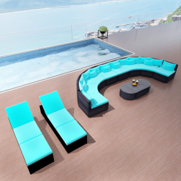Set canapea gradina cu sezlonguri, poliratan, Albastru tropical