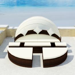 Set mobilier de exterior cu baldachin din poliratan 2-in-1 Maro
