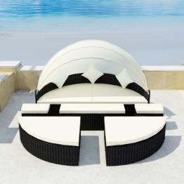 Set mobilier de exterior cu baldachin din poliratan 2-in-1 Negru