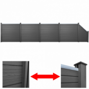 Set gard gradina din lemn compozit WPC 4 patrate + 1 oblic 870cm, gri