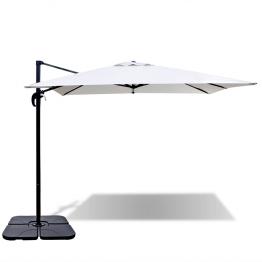 Umbrela Roma cu baza portabila 2.5 x 2.5 m din aluminiu, Alb nisip